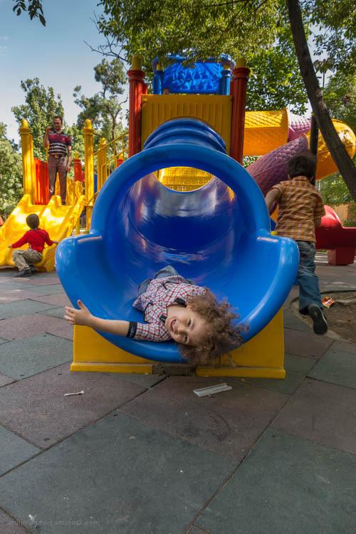 Slide, upside down, kids