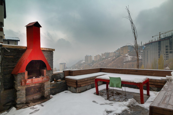 First snow in shemshak and beautiful Balconi