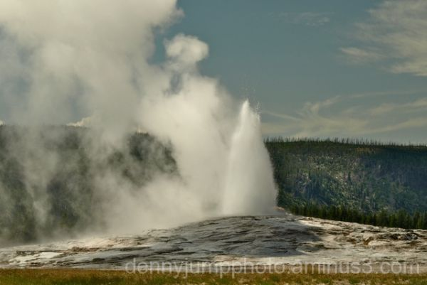 "Old Faithful as seen from the ""non crowd"" side."
