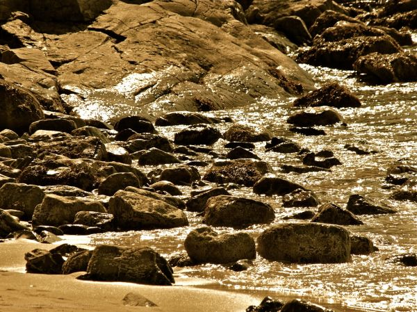 Sand and Rocks in Sepia Tone