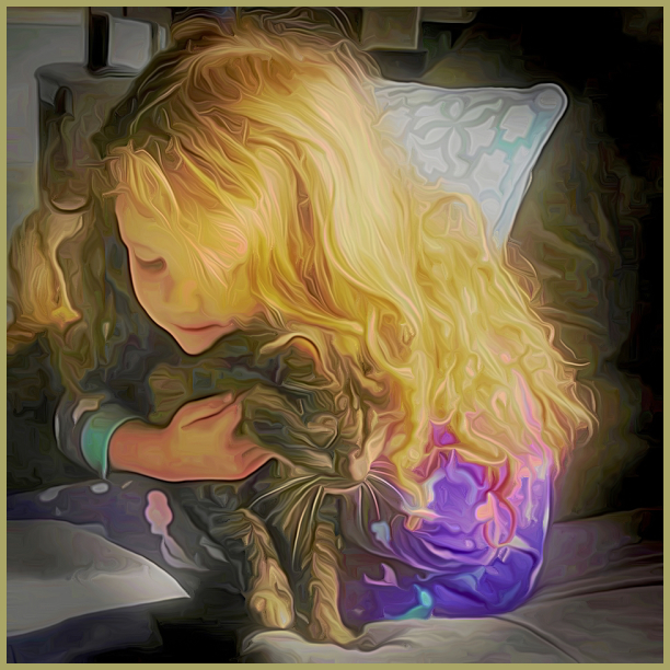 Cecilia and her Cat, Yoda   (Topaz Painterly)