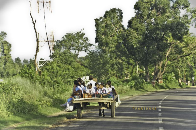 children going to school, India