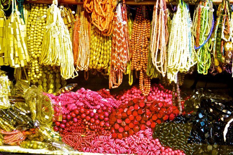 Beads in a window.