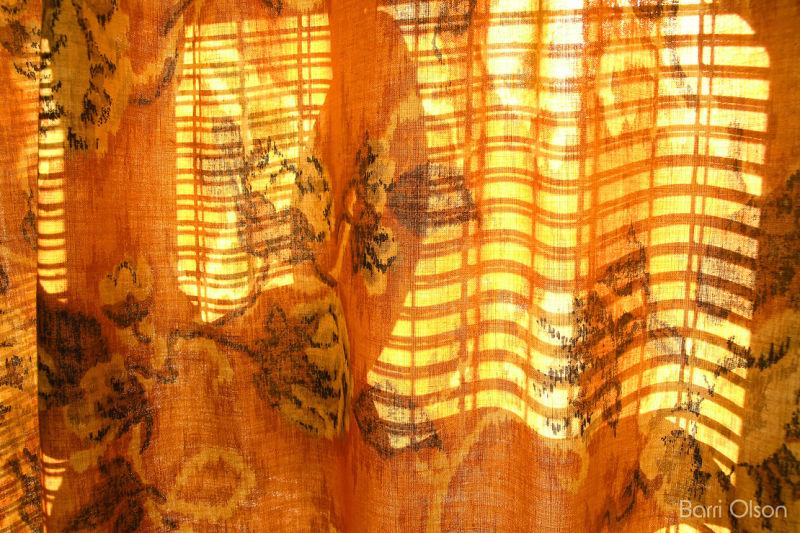 Orange Curtain and Fan
