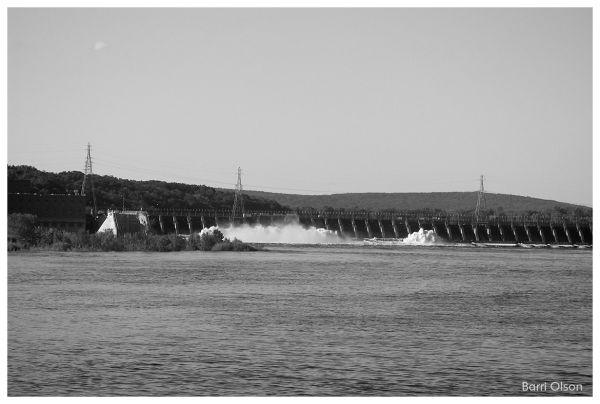 Spillways open on dam