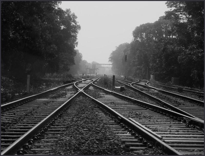 crossing railroad tracks