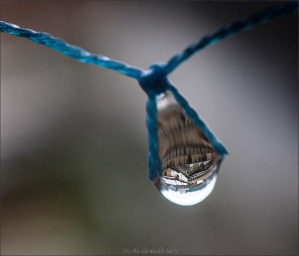 city in water drop