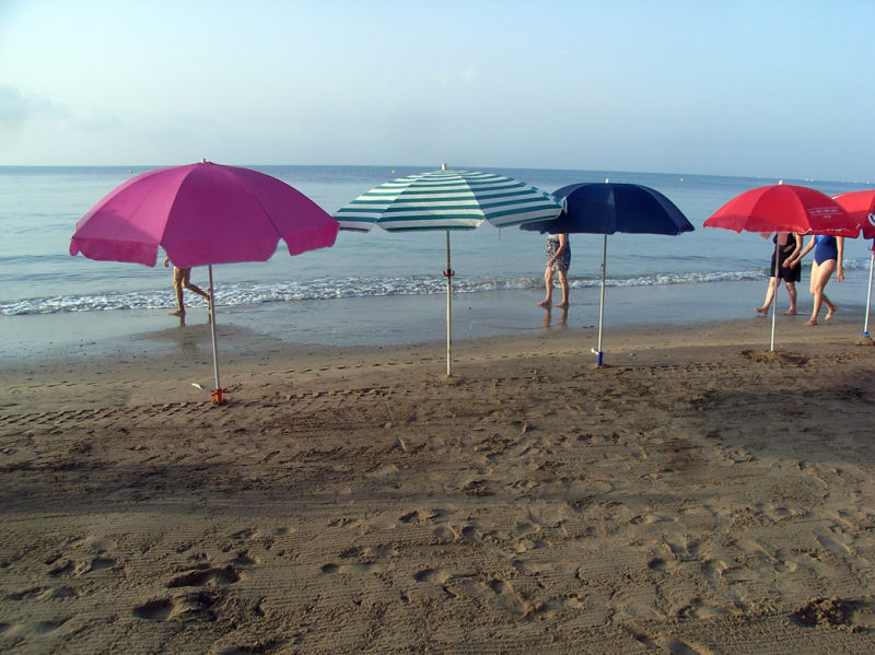 Early starters. 7.40am. Beach.