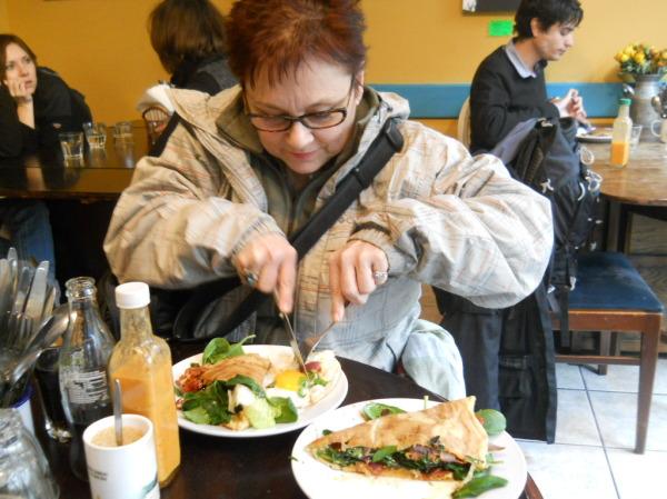 Carol-Ann splitting the egg