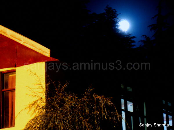 Moonrise at Patnitop, a hill-station in India