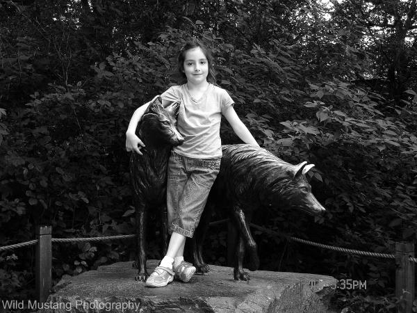 girl    Wolf   statue