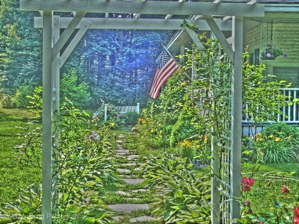 House  Garden Flowers   Arbor  Hdr