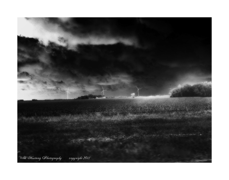 Wind Turbines, fields, clouds