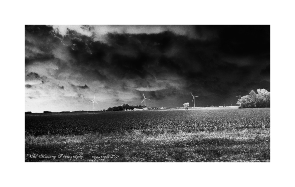 Wind Turbines, fields, clouds