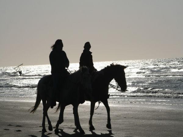 Deux cavaliers au soleil couchant.