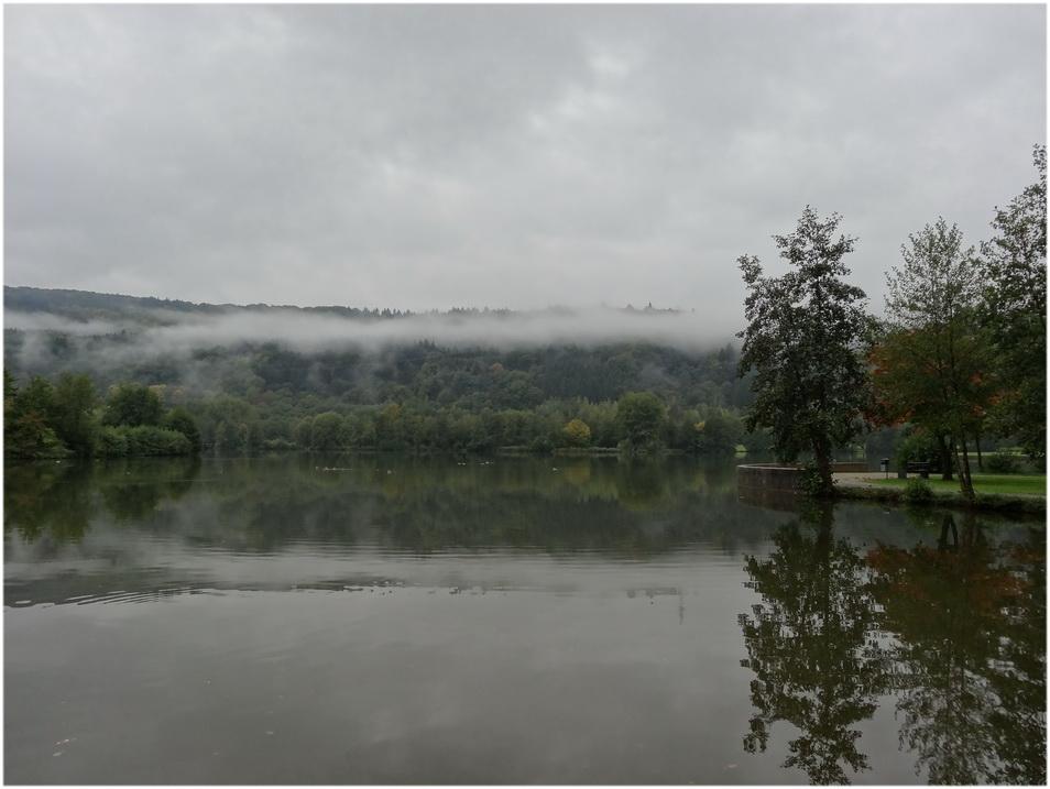 Matin brumeux sur le lac.
