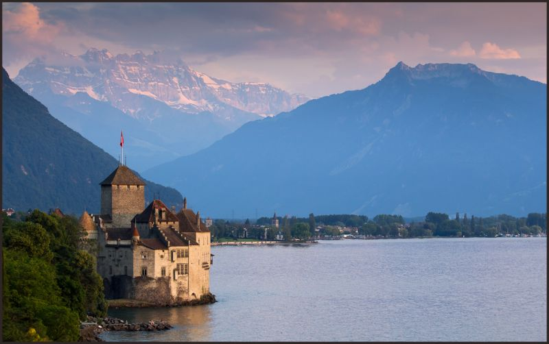 The castle of Chillon sitting on the Lake Geneva