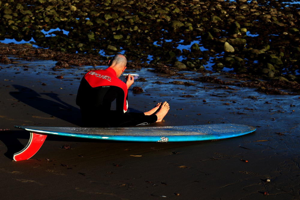 Surfer at rest