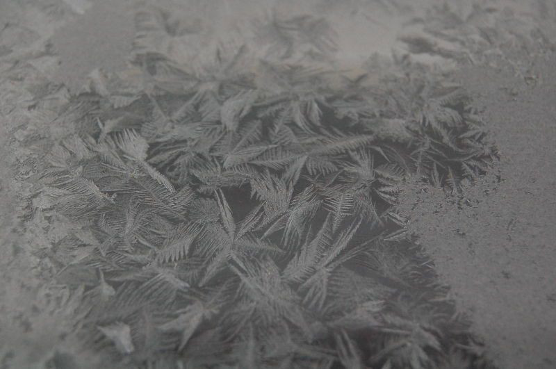 Ice crystals on his home window