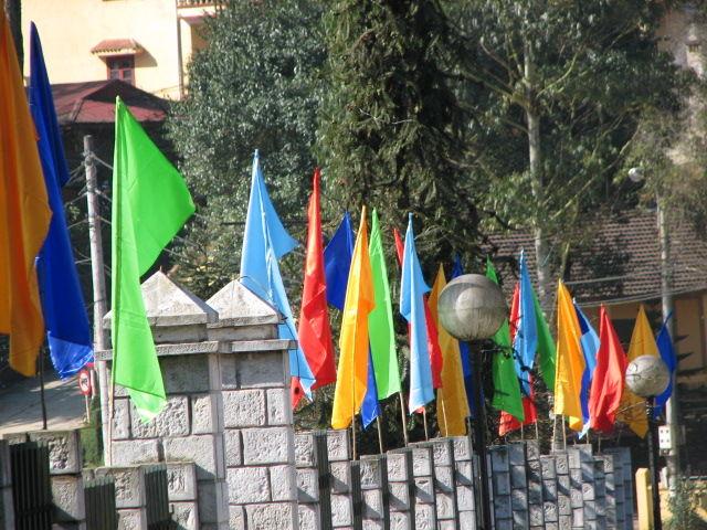 Flags Around a Church at Sapa Vietnam