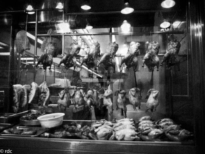 Chicken behind glass