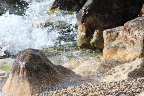 Crashing against the rocks