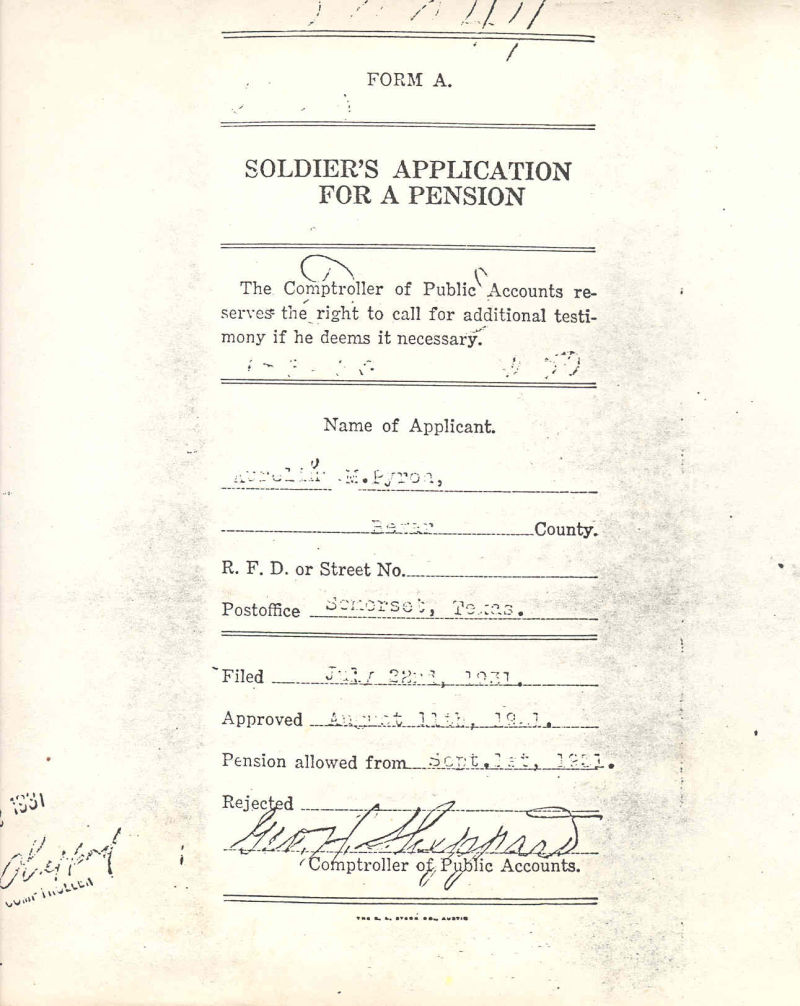 Approval of A.M. Pyron's Confederate pension appli