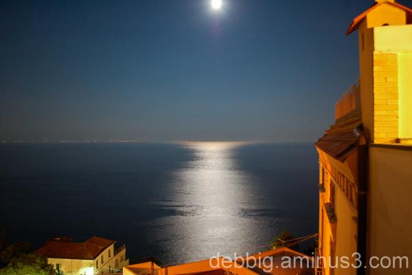 Amalfi Coast moon reflection