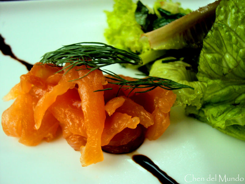 cured salmon with mesclun