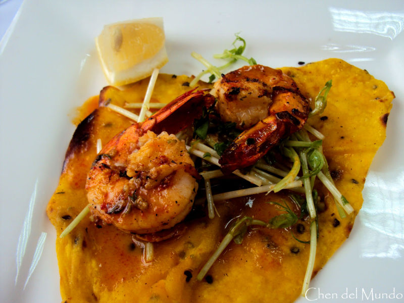 pumpkin tortilla with grilled shrimps