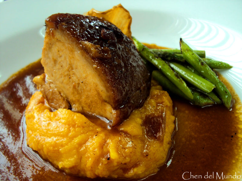 braised pork with sweet potato and asparagus