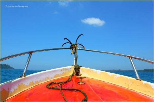 blue andaman water clean air motorboat