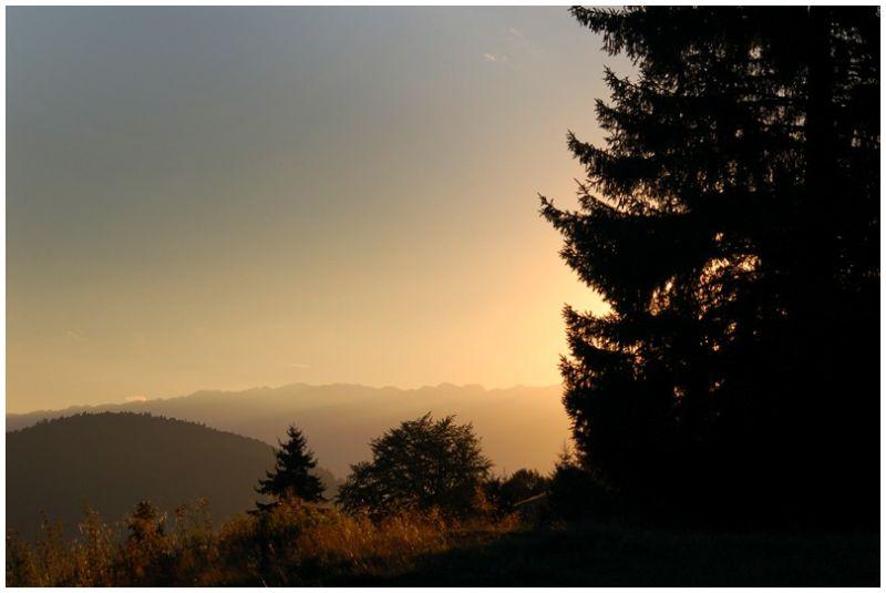 Sunset on the mountin