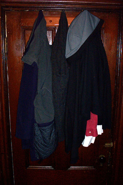 garments hung from a well varnished door