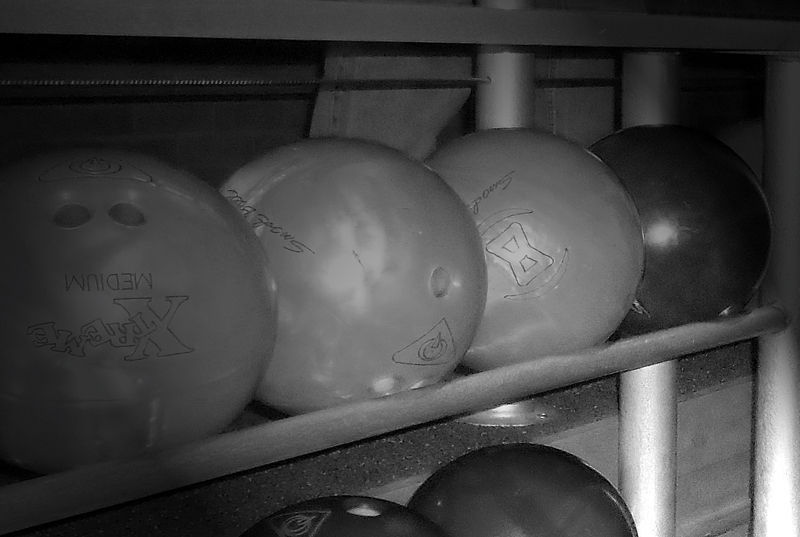 A photograph of bowling balls.