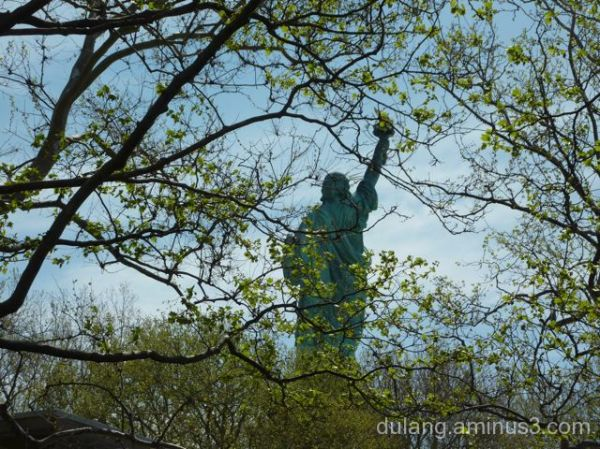 back view of Statue of Liberty