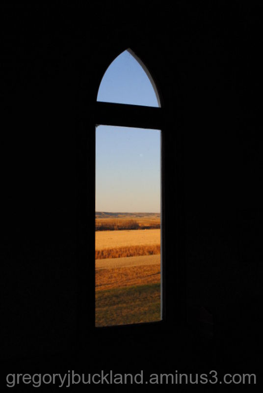In the church - looking out.