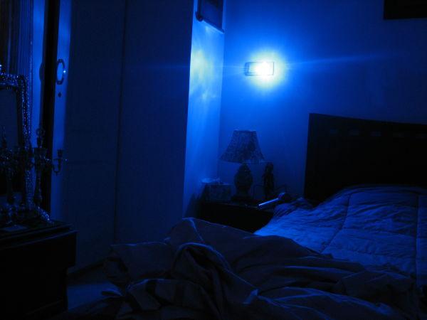 Blue light in bed room