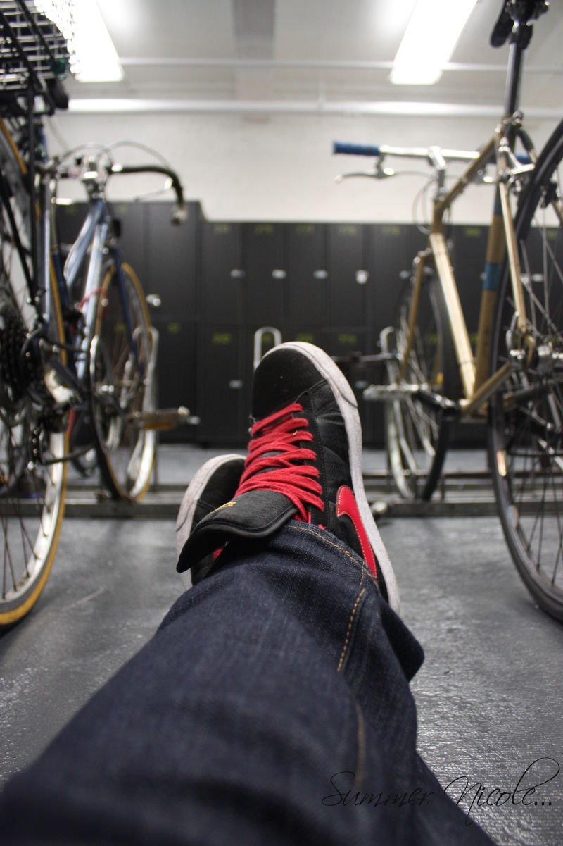 Among the bikes and lockers...break time