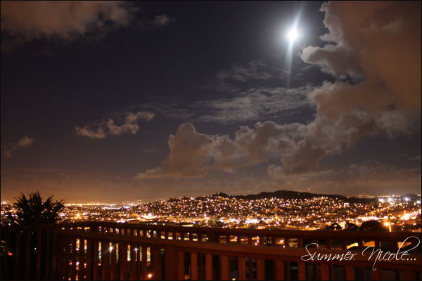 night, sky, lights