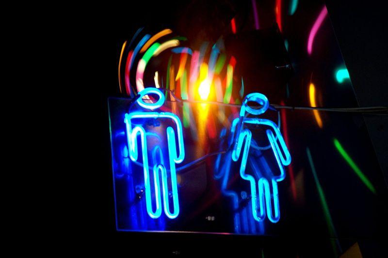 Neon, Sign, Washroom, Toilet