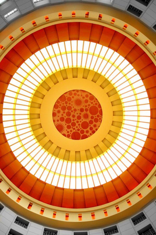 Orange, Circles, Ceiling, Design, Awesome