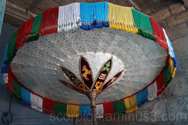 Colourful umbrellas for the Gods