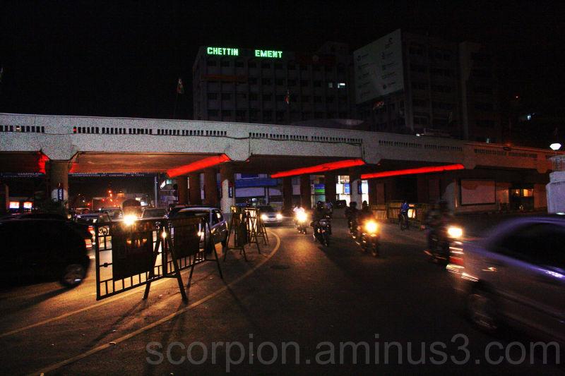 Night traffic  beneath Gemini Flyover, Chennai