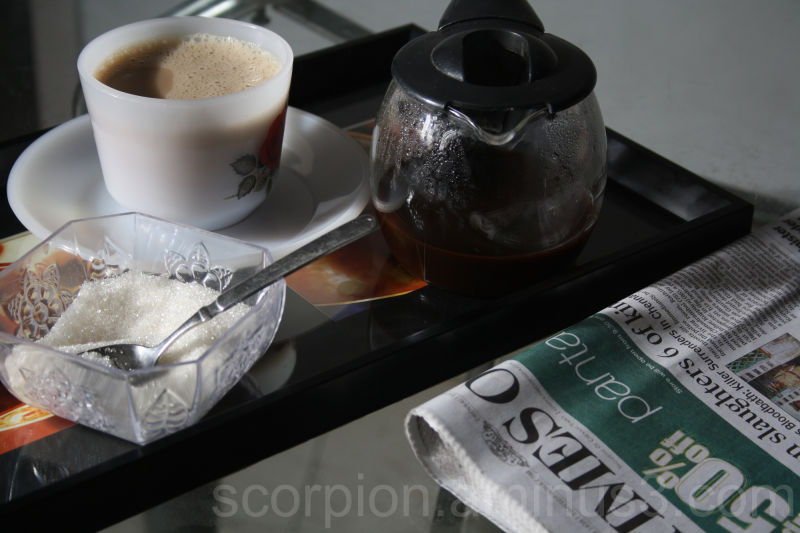 "Next ritual...Aha..""Coffee.."" & Whats news today ?"