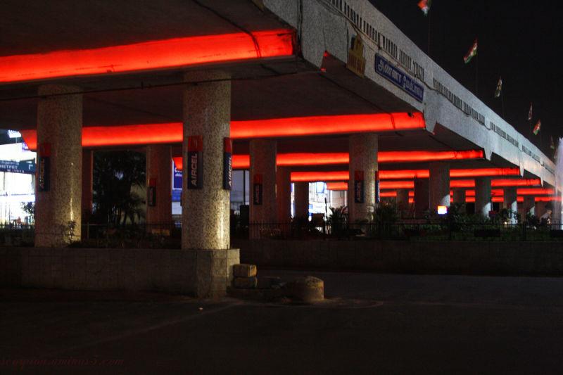 Under the Gemini Flyover, Chennai,  at night...