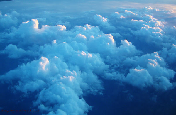 Sunlit clouds from above...