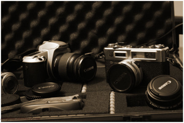My old photo gear in an old Jessops camera case..
