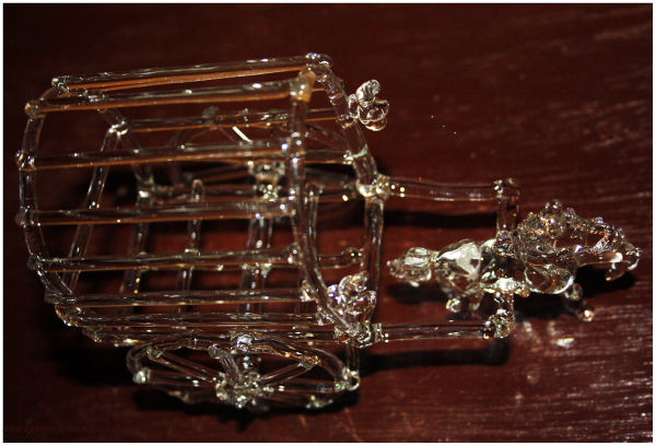 Glass model of horse cart...