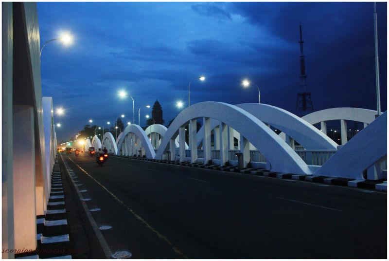 On the  Napier Bridge, Chennai...
